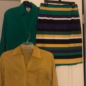 3PC -Multi Colored Skirt & Two Blouses
